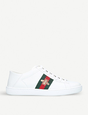 223befc99 GUCCI - Ladies New Ace bee-embroidered leather trainers