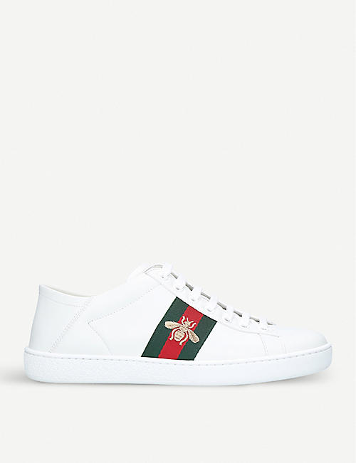 low priced 71579 dcd4a GUCCI New Ace bee-embroidered leather trainers