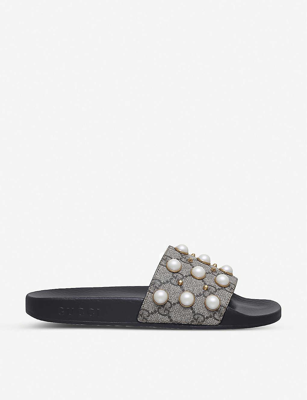 0ec5d669bc79 Pursuit pearl-embellished rubber slider sandals - Beige comb ...