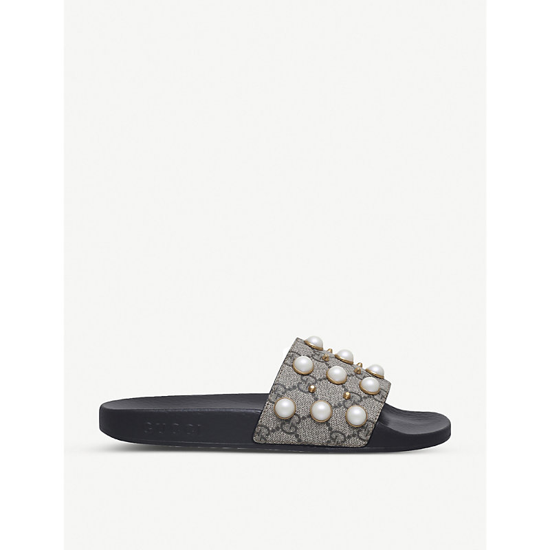 fff781def83589 Pursuit pearl-embellished rubber slider sandals