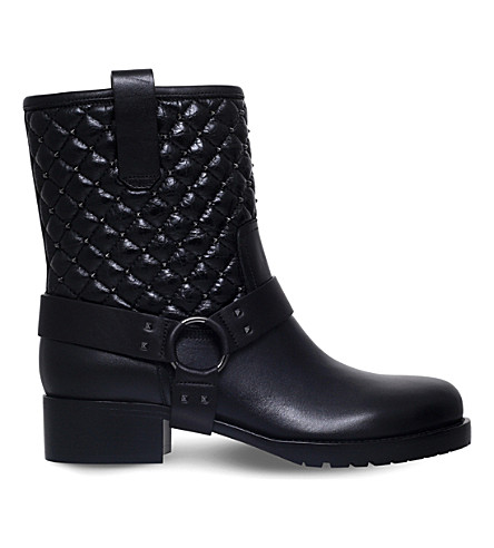 19839fb775778 VALENTINO Biker quilted leather boots (Black