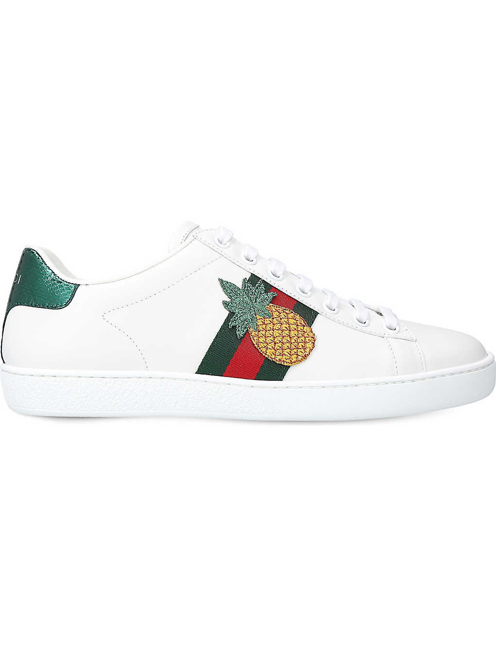 d2031a84415e New Ace pineapple-embellished leather trainers - Whiteoth ...