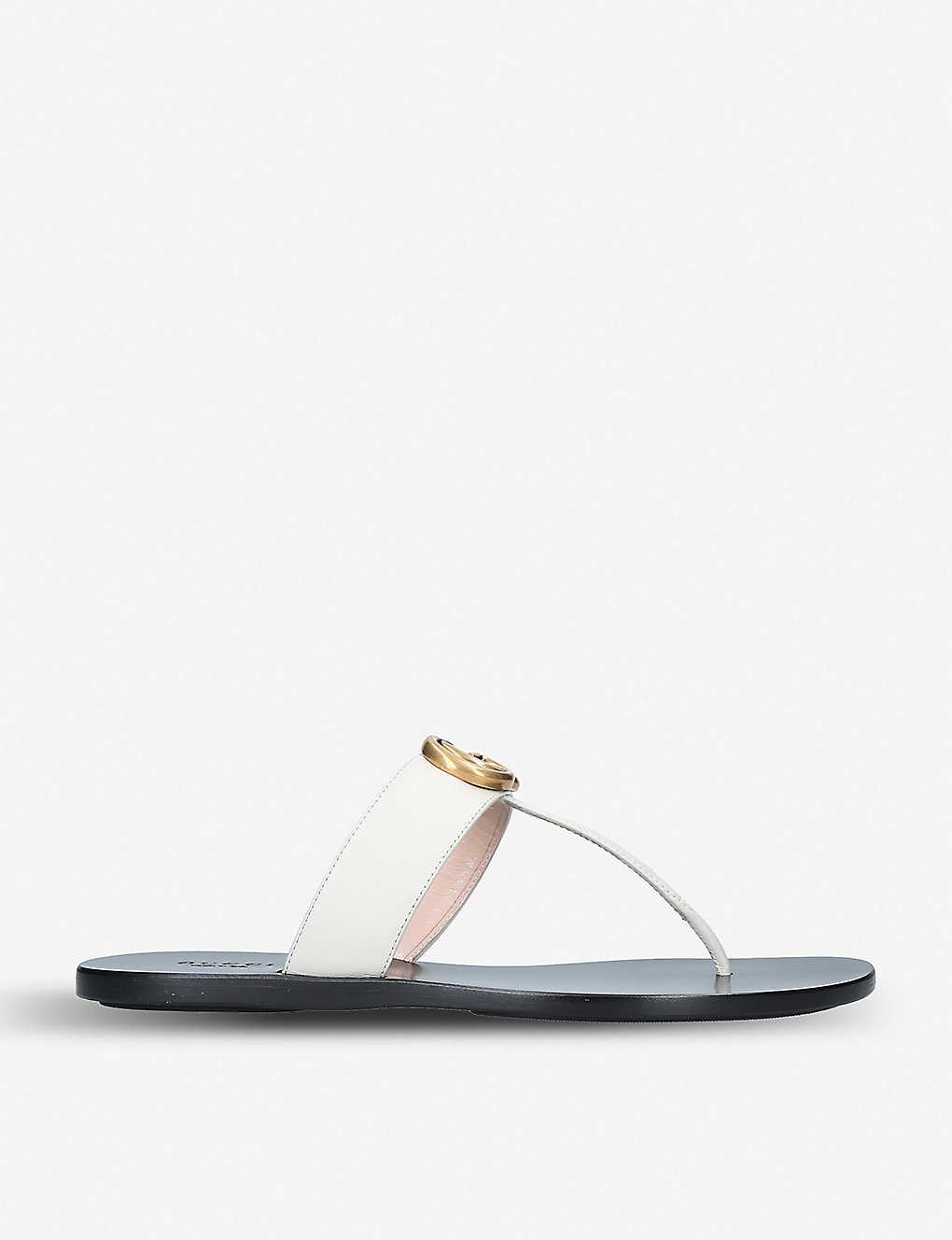 f30067670 GUCCI - Marmont logo-embellished leather sandals | Selfridges.com
