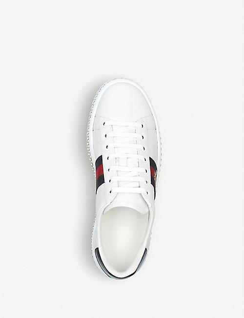 GUCCI New Ace crystal bee-embroidered leather trainers