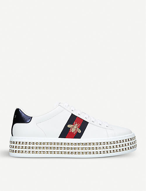 GUCCI: Women's New Ace crystal bee-embroidered leather trainers