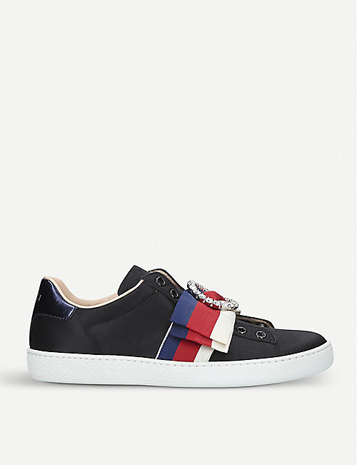GUCCI New Ace bow-detail satin trainers af8b592ad1a