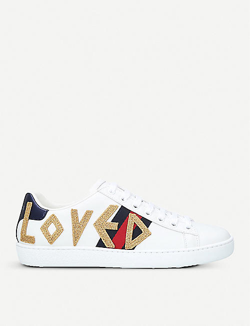 7748755ec3acb GUCCI Ladies New Ace embroidered leather trainers