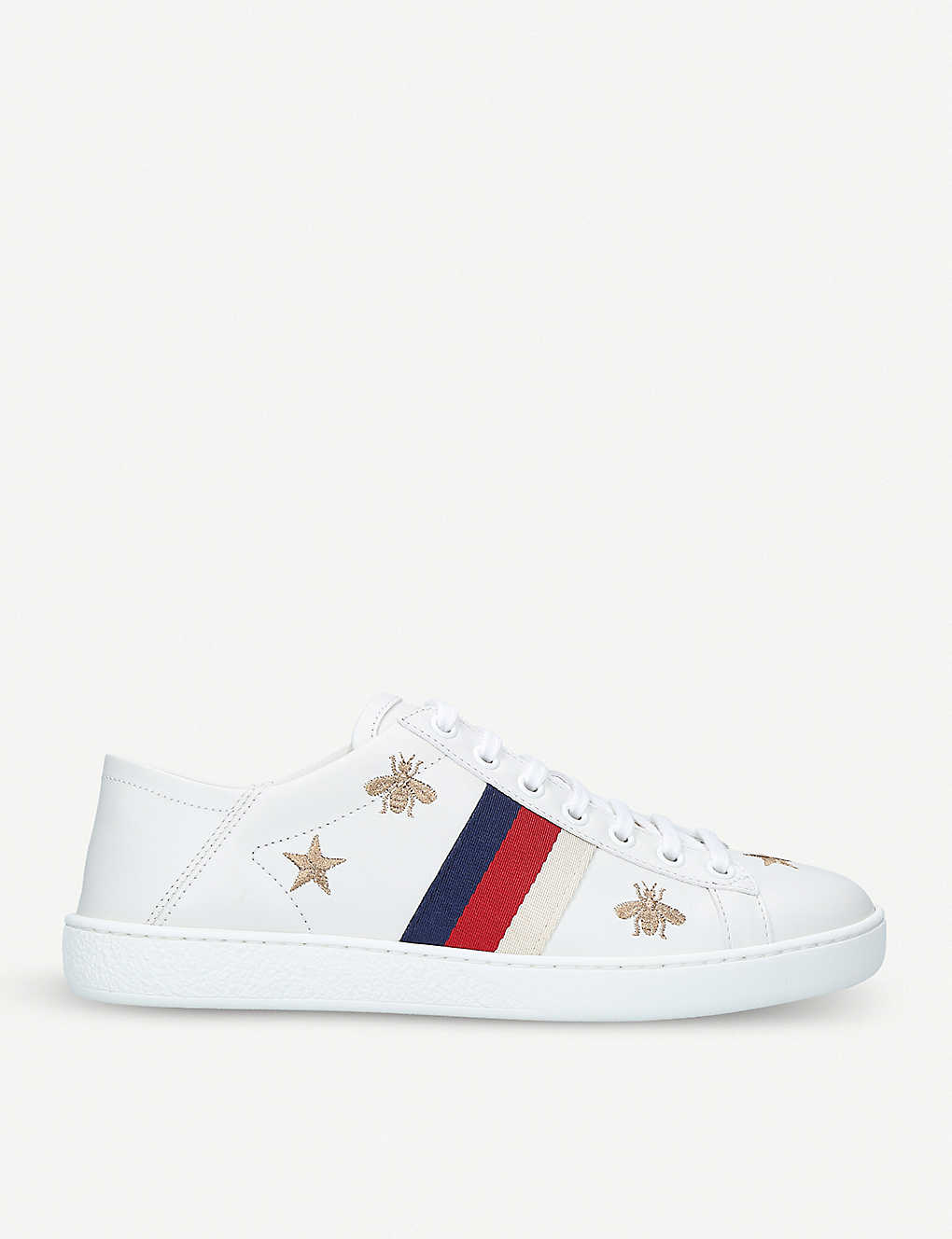 beeeb8eb5c4 New Ace bee-embroidered leather trainers - Whiteoth ...