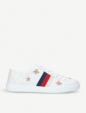 1b24bd5ef GUCCI - New Ace pearl and stud-detail leather trainers | Selfridges.com