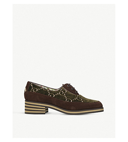 641f04bdaec4 GUCCI - Suede and velvet Derby shoes | Selfridges.com