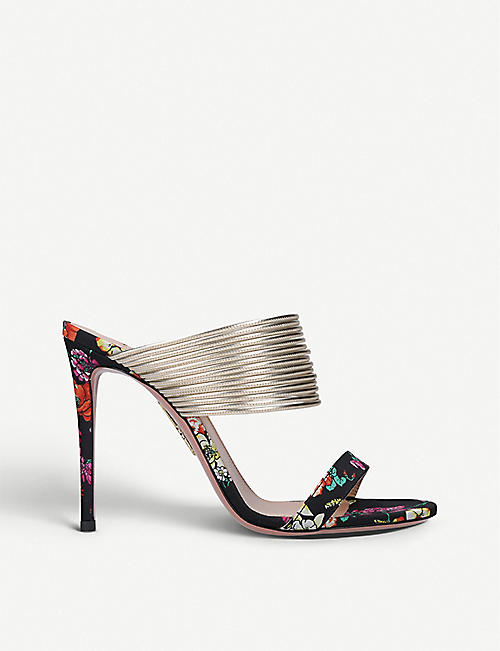 AQUAZZURA: Rendez Vous floral-print leather sandals