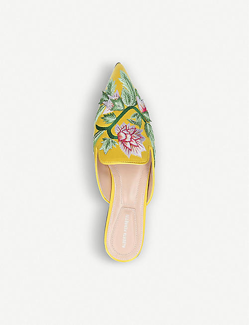 ALBERTA FERRETTI Mia floral embroidered silk and leather mules