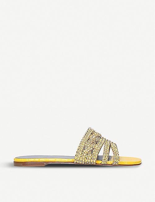 a02ae408decda GINA Loren crystal-embellished leather sandals