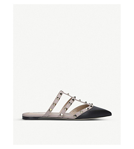 best cheap low price reasonably priced Valentino Rockstud Caged Leather Mules In Blk/beige | ModeSens