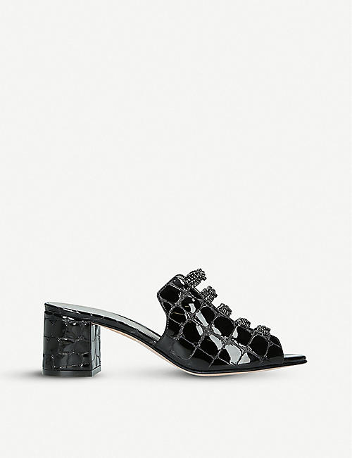 GINA Cosmos embellished crocodile-embossed leather sandals