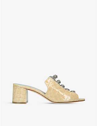 GINA: Cosmos embellished crocodile-embossed leather sandals