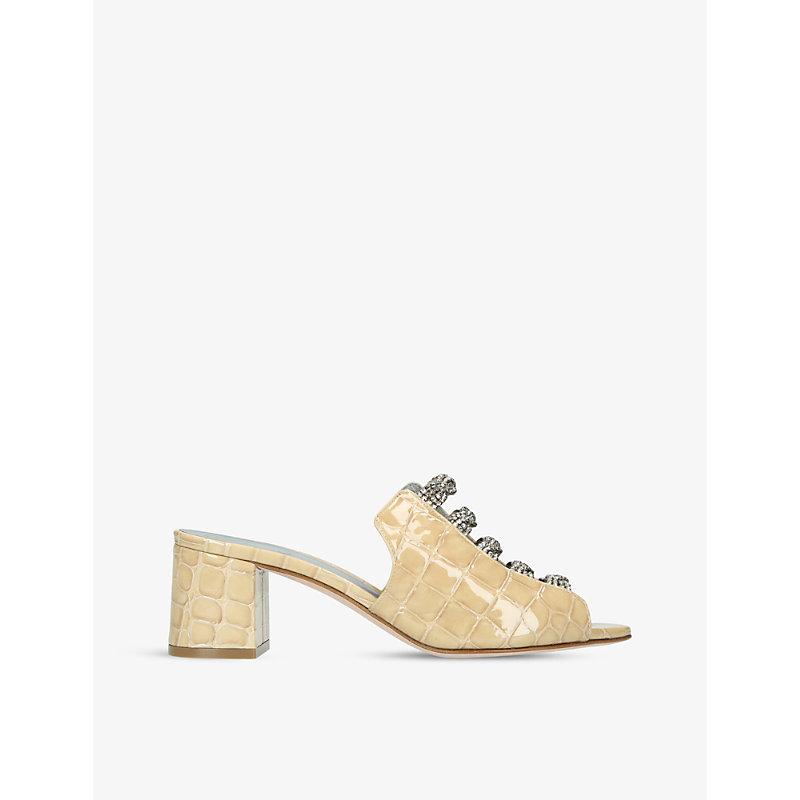 GINA | Cosmos Embellished Crocodile-Embossed Leather Sandals | Goxip