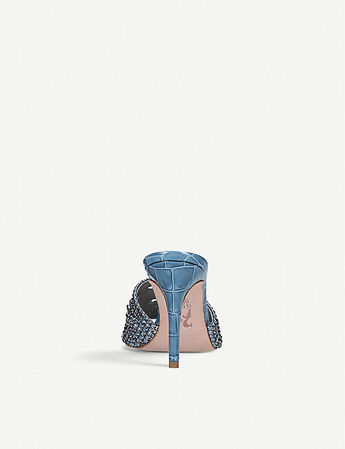 GINA Jarrah embellished leather heeled mule sandals
