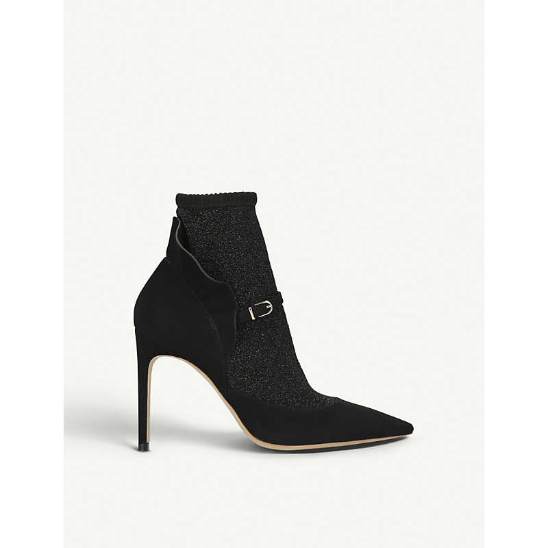 Sophia Webster LUCIA SUEDE AND STRETCH-LUREX COURTS