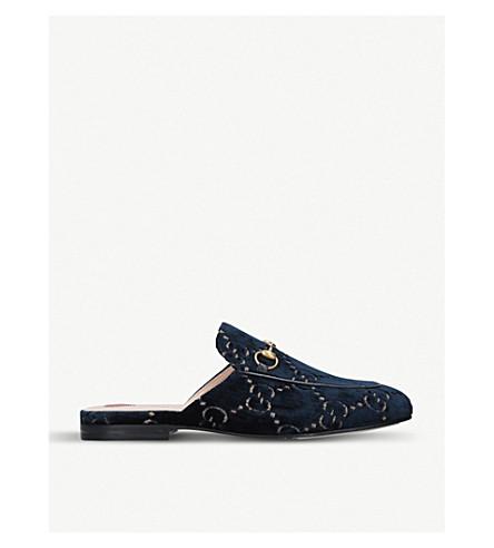 a9898e6fd GUCCI Princetown GG velvet slippers (Navy