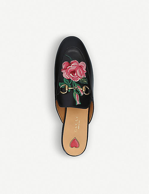 GUCCI Princetown floral-embroidered leather slippers