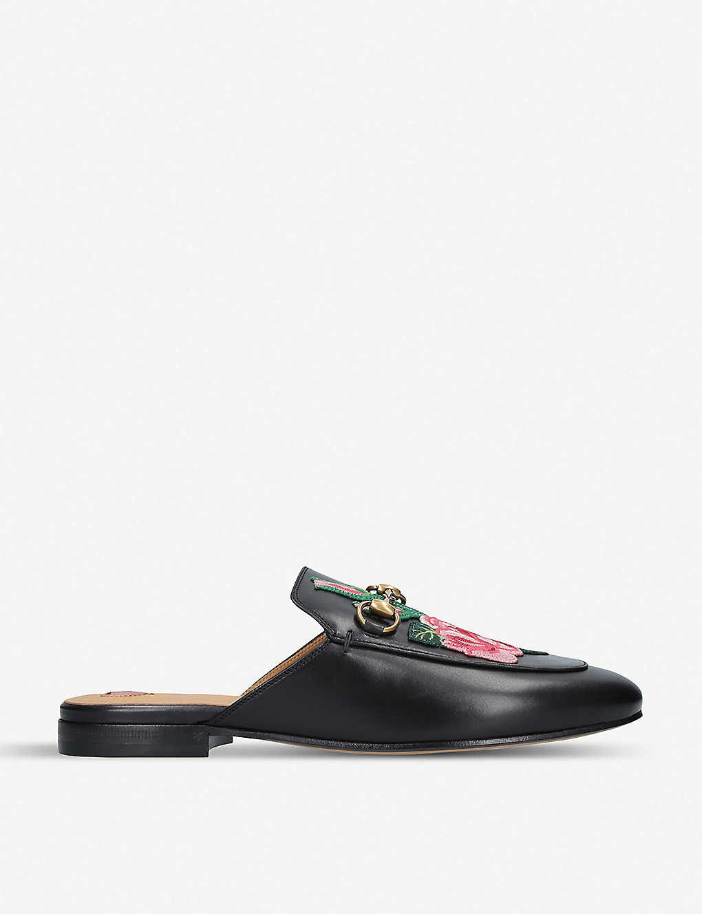24289d3a4088 Princetown floral-embroidered leather slippers - Black ...