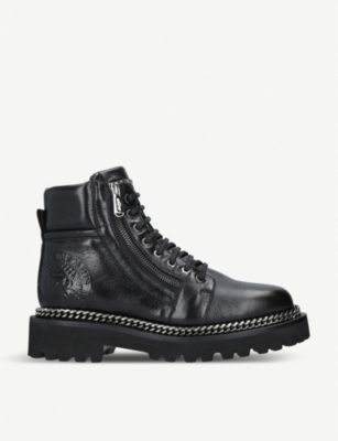 BALMAIN Chain leather army boots