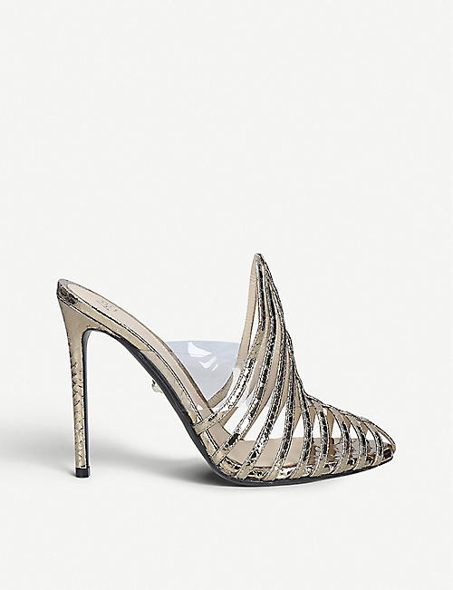 ALEVI MILANO Alessandra metallic leather and PVC heeled mules
