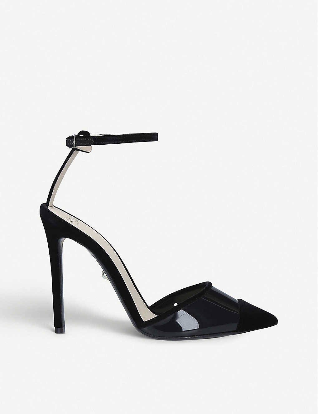 ALEVI MILANO: Bianca velvet and PVC heeled sandals