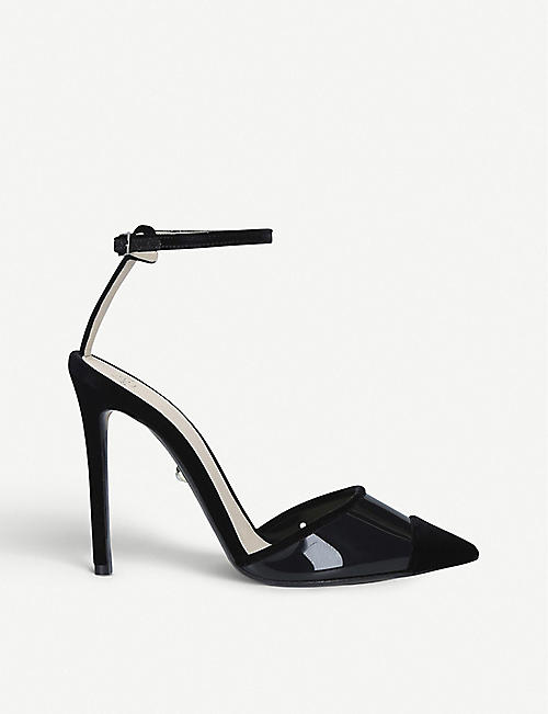 ALEVI MILANO Bianca velvet and PVC heeled sandals