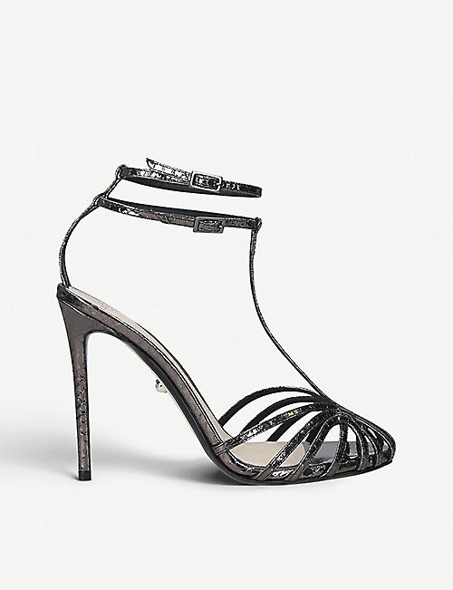 ALEVI MILANO Stella snake-embossed leather heeled sandals