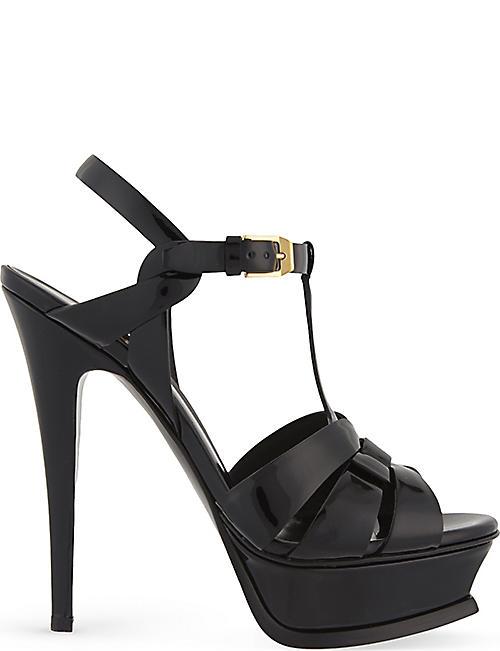 571855cd32d0 SAINT LAURENT Tribute 105 patent-leather heeled sandals