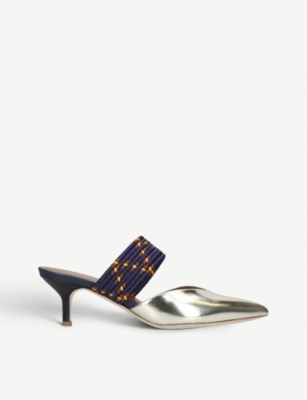 MALONE SOULIERS Maisie braided metallic-leather mules
