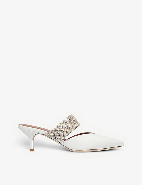 MALONE SOULIERS: Maisie braided-strap heeled leather mules