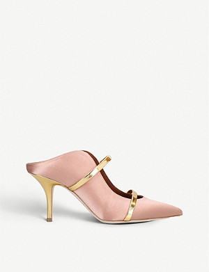 MALONE SOULIERS Maureen leather-trimmed satin mules
