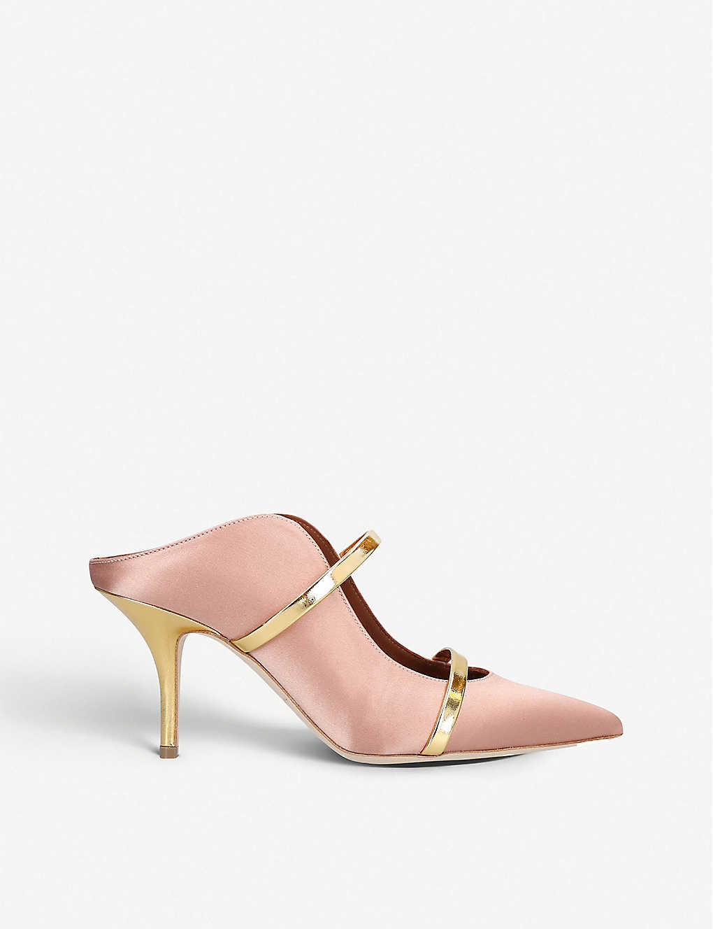 MALONE SOULIERS: Maureen leather-trimmed satin mules
