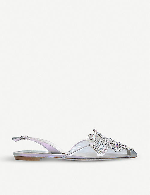 RENE CAOVILLA Jolie embellished metallic-leather and PVC slingback flats