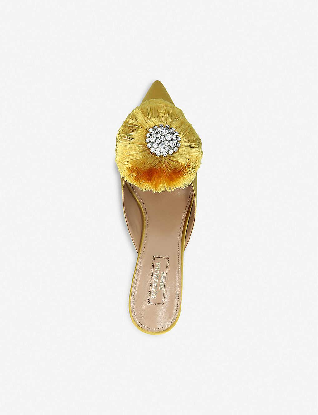 41e3545e07 AQUAZZURA - Crystal Lotus 45 Suede Mules | Selfridges.com