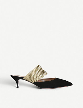 AQUAZZURA: Rendez Vous 45 suede heeled pumps