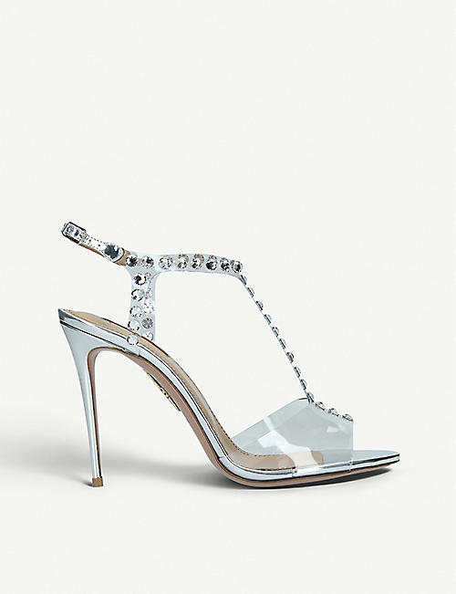 5b6797826bc AQUAZZURA Shine 105 crystal-embellished metallic-leather and PVC heeled  sandals