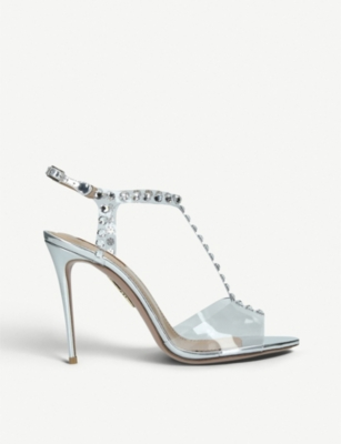 AQUAZZURA Shine 105 crystal-embellished metallic-leather and PVC heeled sandals