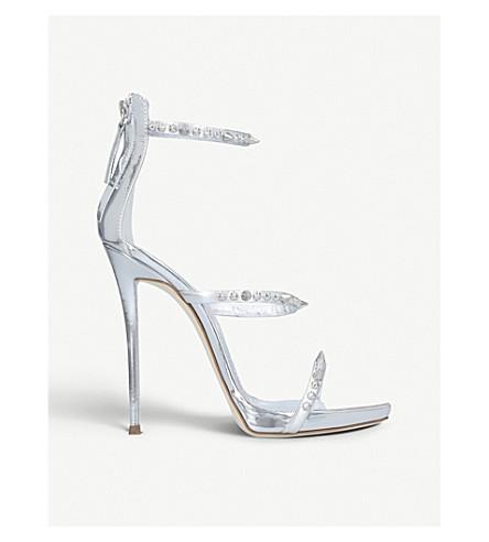 5c8a1b069 GIUSEPPE ZANOTTI Gemstone-embellished metallic leather sandals (Silver+com