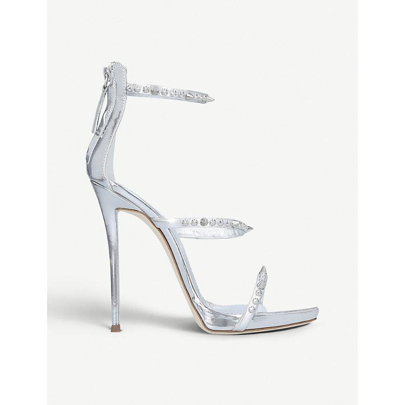 GIUSEPPE ZANOTTI | Gemstone-Embellished Metallic Leather Sandals | Goxip