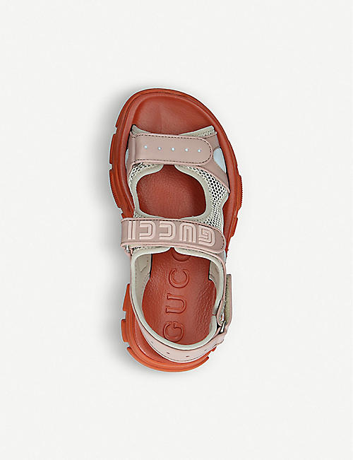 f4d8383ccddc GUCCI Aguru Sand leather and mesh sandal