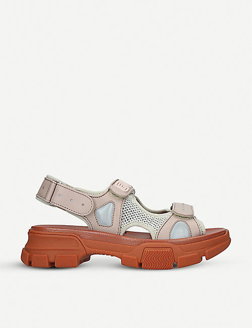 fc668f0ed5d253 GUCCI Aguru Sand leather and mesh sandal