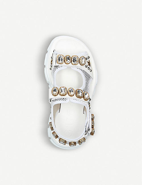 GUCCI Aguru crystal-embellished leather and mesh sandals