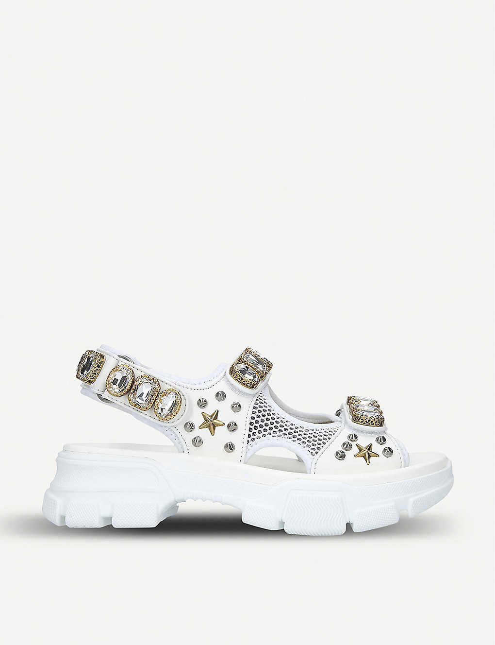 2774356f017 ... Aguru crystal-embellished leather and mesh sandals zoom ...