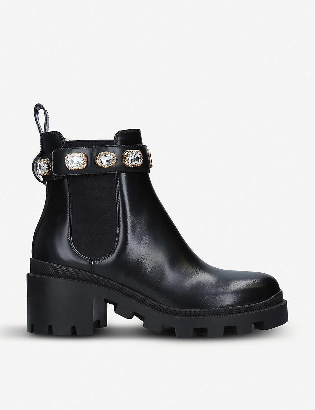 d4afa2d6a90 Trip crystal-embellished leather Chelsea boots - Black ...