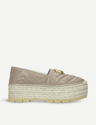 GUCCI Pilar flatform leather espadrilles