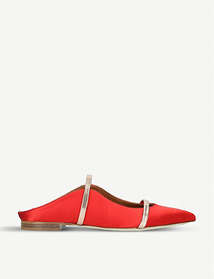 MALONE SOULIERS Maureen satin and metallic-leather flats